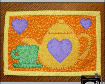 PDF Pattern for Tea Time Mug Rug, Teapot Mug Rug Pattern, Tea Mini Quilt Pattern - Sewing Pattern, Tutorial, DIY