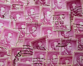 FREE SHIPPING ; 100 used purple postage stamps 4 cents Abraham Lincoln 1954 Scott 1036 for crafting, scrapbook pages, collages, mixed media.