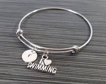 I Love Swimming Bracelet - Expandable Bangle - Swimming Charm Bracelet - Initial Bracelet - Swimming Gift - Swimming Bangle