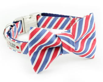 Red White Blue Stripes Dog Bowtie Collar