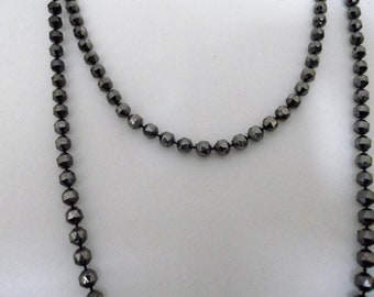 Long black/gunmetal grey gatsby style beads 1920s style