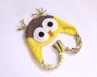 Photo Prop Newborn, Baby Owl Hat, Yellow Owl, Owl Baby Clothes, Crochet Owl Hat