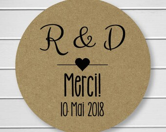Personalized Merci Sticker, Merci Labels, Kraft Stickers, Kraft Thank you Stickers (#161-KR)