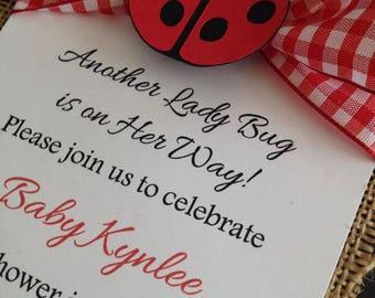 Baby Girl or Boy Ladybug Baby Shower Invitation with burlap - Gorgeous