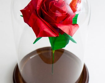 Eternal rose / Red rose / Origami rose / Paper anniversary gift / Centerpiece