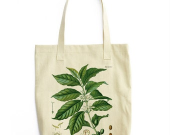 Coffee Botanical Tote Bag / Shopping Coffee Beans Plant Vintage Illustration Seed Packet Boho Festival Style