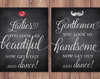 Wedding Bathroom Signs   Rustic   Womens And Mens Restroom   His And Hers  Bathroom Signs