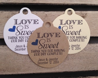 Wedding Gift Tags - Love Is Sweet - Wedding Favor Tags - Customizable Personalized (WT1446)