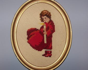 Charming  Needlepoint Framed Picture Child Candle Red
