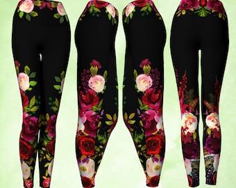 Yoga Pants, Foldover Waist, Burgundy Red, Watercolor flowers, floral pants, unusual leggings, yoga wear, workout wear, comfortable pants