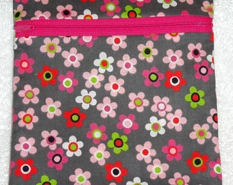Handmade  Retro Floral Sling Bag, Cross Body Bag, Hipster, Travel Bag in gray, white, pink, green and red