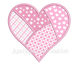 Patchwork Heart Applique Machine Embroidery Design Valentine pink red INSTANT DOWNLOAD