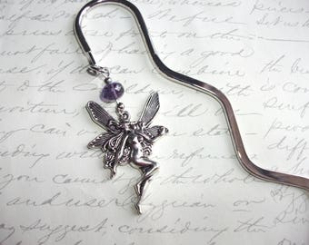 Fairy bookmark with purple crystal