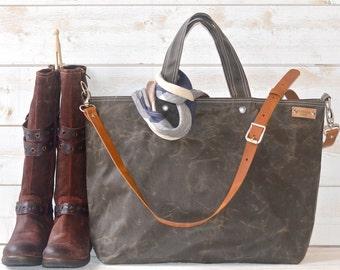 Diaper bag, Waxed canvas bag, Messenger bag,  Gift for her, Tote bag, Khaki green tote bag,work bag, Gift for mom, gift for him