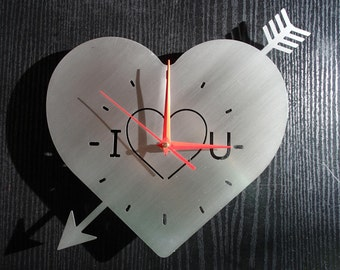 Wall clock love heart stainless steel wall decoration artistical strasburger design wall Watch I love you
