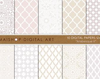 Digital Paper 'Arabesque II' Elegant Scrapbook Papers, Backgrounds, Patterns... for Cards, Wedding Invitations, Decoupage, Crafts..