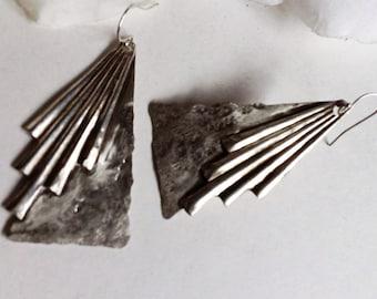 Large Silver Art Deco Earrings, Sterling Silver Drop Earrings, Dangle  Earrings, Large Silver Earrings, Ond of A Kind , Vintage Earrings.