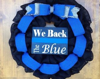 Law Enforcement Wreath, LEO Wreath, Back The Blue Wreath, Police Officer Wreath, Memorial Wreath, Burlap Wreath, Blue Wreath, Black Wreath