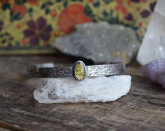 Textured Tourmaline Cuff Bracelet, Bright Green Tourmaline Rose Cut Stone, Genuine Tourmaline, Silver Cuff Bracelet, Bohemian Bracelet
