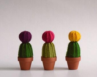 "The little flower ""Ball"" - Cactus in wool - knit, handmade interior design, textile, green art, plant eternal"