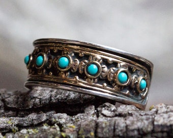 Turquoise ring, Silver Gold Ring, sterling silver band, twotone ring, stones ring, December birthstone, floral ring - New beginnings R1143X