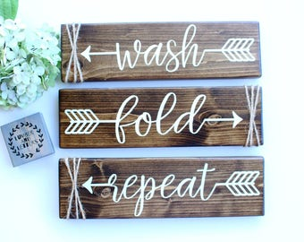 Laundry Room Decor - Laundry Room Sign - Wash Fold Repeat - Farmhouse Laundry Room - Rustic Laundry Decor - Laundry Room Signs Wood