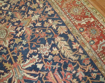 Antique Persian Heriz Rug Size 9'6''x11'10''