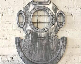 Deep Sea Diver Nautical Wall Decor Deep Sea Diving Helmet Underwater Dive Mark-V US Navy Diving Mask Coastal Wall Art Beach House Decor
