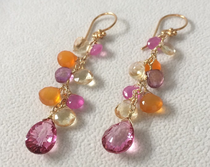 Pink Sapphire Gemstone Long Dangle Earrings in Gold Vermeil with Citrine, Orange Carnelian and Mystic Pink Topaz