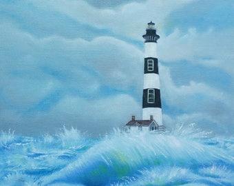 Set of Five Original North Carolina Lighthouse Oil Paintings, beautiful sea, stormy scene of NC light houses, imaginary scene, light house