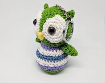 Handmade crochet owl keyring