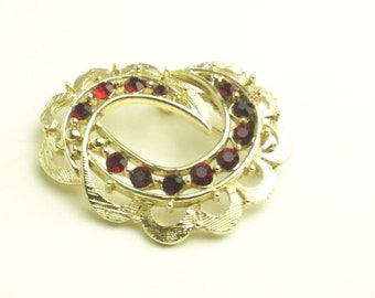 Vintage Brooch Garnet Red Rhinestone Golden Costume Jewelry 1950's Hollywood Glamour Mid Century Pin Gift For Her on Etsy