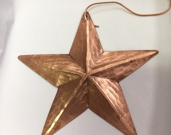 Handcrafted Pure Hammered Copper Star Ornament