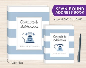 Address Book, Personalized Address Book, Smyth-Sewn Book, Sewn Contacts Book, Sewn Telephone and Address book, Contacts Book, Blue Phone