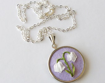 Lily of the Valley Necklace, May birthday gift, silk ribbon embroidery, embroidered jewelry, spring flower necklace, botanical necklace