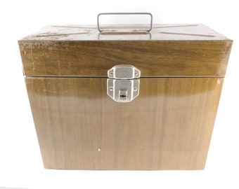 Porta File Woodgrain Metal File Storage Case for Home and Office