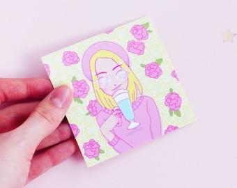 At the Flower Cafe Girl Vinyl 8cm Square Sticker, Peonies, Cute, Pastel, Kawaii, Geeniejay, Pink, Tea, Coffee, Hot Chocolate, Unicorn Drink