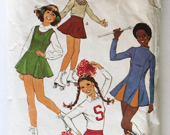 Cheerleader Costume Pattern 1970s Teen Girls Ice Skater, Majorette, and Cheerleader Costume Sewing Pattern Size 13-15 Simplicity 8140