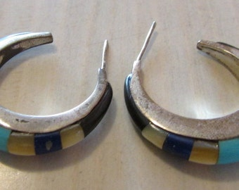 Sterling Silver Hoop Earrings with Lapis, Turquoise and Shell Inlay