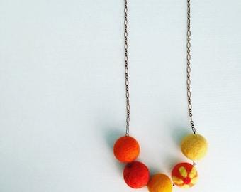 Southport Felt Necklace - Orange Crush