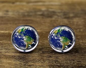 Planet Earth cufflinks, Globe World cufflinks, World cufflinks