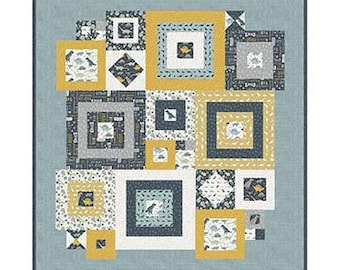 """Squared Away Quilt Kit with Pattern by Deena Rutter Designs- Finished Quilt Size 55"""" x 59"""""""