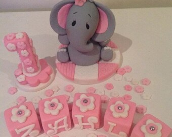 Elephant Number, Flowers and Blocks Edible Cake Topper