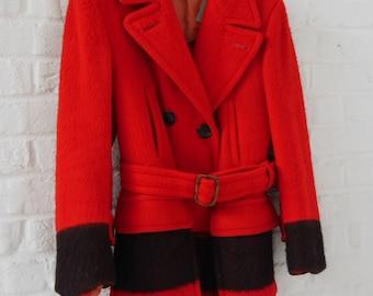 Hudson's Bay point Blanket coat Red/Black mint condition 1930s Rare  Blanket coat