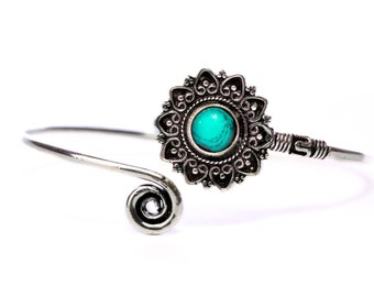 Boho Tribal Bangle Turquoise Gemstone Bracelet Adjustable Gift Boxed + Giftbag + Free UK Delivery WBB13