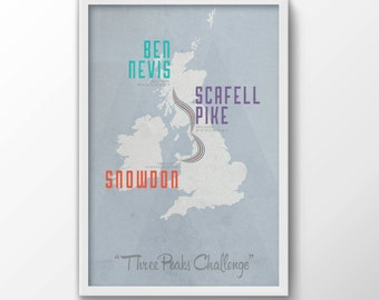 Three Peaks Print - iconic, map, route, travel, souvenir, 3 peaks, ben nevis, snowdon, challenge, free shipping, gift for him, gift for her
