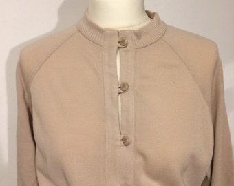 Sale! 50% reduced! Beautiful original vintage dress 70s beige unworn! Price tag still available