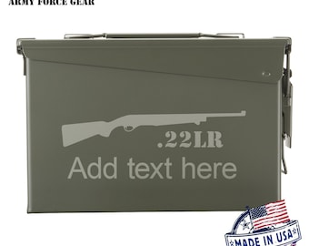 22LR Hunting Rifle  Custom Engraved 30 / 50 Cal Ammo Can Personalized Dad Gift, Cool Guy Gifts Father's Day Gift, Grandpa Gift,Groomsmen