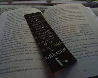Outsiders Inspired Bookmark - Stay Gold Like A Greaser