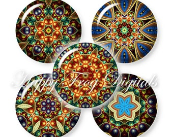 Kaleidoscope - 12, 14, 16, 18, 20 mm circles - Digital Collage Sheet - 383 HFD - Printable Download - Instant Download